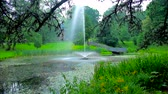 cz : The cool fresh air during the rainy weather at the lake in Stanislaw Staszic Park at Jasna Gora Monastery, Czestochowa, Poland. Stock Footage