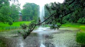 cz : The view on fountain in Stanislaw Staszic Park at Jasna Gora Monastery through the branch of pine tree with shiny raindrops on its needles, Czestochowa, Poland. Stock Footage