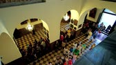 мадонна : CZESTOCHOWA, POLAND - JUNE 12, 2018: The view from the upper balcony: people enter the Chapel of Black Madonna of Jasna Gora Monastery and walk along the hall to the altar, on June 12 in Czestochowa. Стоковые видеозаписи
