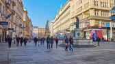 kolumny : VIENNA, AUSTRIA - FEBRUARY 17, 2019: The architectural ensemble of Graben street with St Leopold fountain (Leopoldsbrunnen) and Plague or Holy Trinity Column (Pestsaule), on February 17 in Vienna. Wideo