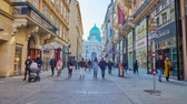 viyana : VIENNA, AUSTRIA - FEBRUARY 17, 2019: Walk along the Kohlmarkt, one of the central shopping areas of the city, leading to St Michael Square (Michaelerplatz) and Hofburg Palace, on February 17 in Vienna