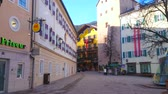 konak : ZELL AM SEE, AUSTRIA - FEBRUARY 28, 2019: The old traditional housing in Stadtplatz - the central square of resort with popular cafes, souvenir stores and landmarks, on February 28 in Zell Am See.