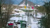 cabaña en el bosque : BAD ISCHL, AUSTRIA - FEBRUARY 20, 2019: The cable car journey to the Mount Katrin is nice choice to overlook the winter landscapes, enjoy the nature and weather, on February 20 in Bad Ischl