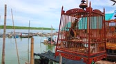 travel cage : The teakwood cage with red-whiskered bulbul bird at the haven of Ko Panyi floating Muslim village, the bird is a member of singing competition, taking place in Southern Thailand