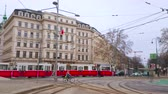 konak : VIENNA, AUSTRIA - MARCH 2, 2019: The vintage tram drives in Karntner Ring - the section of the circular grand boulevard (Ringstrasse), surrounding old town, on March 2 in Vienna