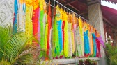 lanna : The colorful ritual Lanna flags hang on the terrace of the Viharn Luang of Wat Phra That Hariphunchai Temple, Lamphun, Thailand