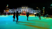 viena : VIENNA, AUSTRIA - FEBRUARY 18, 2019: The locals skate on the large ice skating rink at Rathausplatz, that is one of the most favorite winter leisure events among youth, on February 18 in Vienna