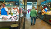 çarşı : JEREZ, SPAIN - SEPTEMBER 20, 2019: The stalls of Mercado Central de Abastos (Central Abastos Market) boasts vide range of high quality fresh fish and seafood, on September 20 in Jerez