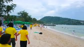 lambreta : PATONG, THAILAND - APRIL 30, 2019: A cloudy morning is the perfect time to walk along the coast and enjoy the gentle tide, windy weather and local landscapes, on April 30 in Patong