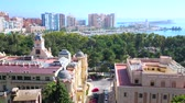 faro : MALAGA, SPAIN - SEPTEMBER 26, 2019: Panorama from the top of Alcazaba Fortress with a view on towers, University building, Town Hall, city park, marina and port, on September 26 in Malaga