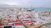 クレーン : CADIZ, SPAIN - SEPTEMBER 21, 2019: Panorama from the bell tower of Cathedral with a view on city roofs, port, cruise liners, cargo ships, cranes and historical landmarks, on September 21 in Cadiz