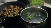 steamed : Womans hand drop colorful broccoli to the pot full of boiling water. Slow motion
