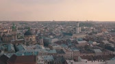dominikanische republik : Panorama of the ancient city. The roofs of old buildings. Ukraine Lviv City Council, Dominican Church, Town Hall, the tower. Streets Arial. Stock Footage