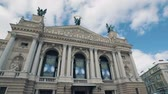 lviv : LVOV, UKRAINE - Winter 2018 Timelapse: ?old weather in old city Lviv in Ukraine. Clouds are moving quickly. Lviv Opera and Ballet Theater. Stock Footage