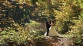 wedding veil : Groom with bride stand in the forest park. Bride dancing. Wedding couple. Happy family. Man and woman in love. Lovely groom and bride. Making a kiss. Slow motion