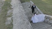 fede nuziale : Wedding couple. Lovely groom and bride. Happy family. Man and woman in love. Wedding day. Slow motion