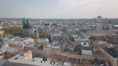 guildhall : Aerial Roofs and streets Old City Lviv, Ukraine. Central part of old city. European City in spring. Densely populated areas of the city. Panorama of the ancient town. Ukraine Dominican. Drone shot