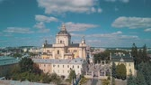ortodoksluk : Aerial view of St. Jura (St. Georges) Cathedral church against cloudscape in old town Lviv, Ukraine. Flying by drone over Greek Catholic Cathedral of city. Main shrine of the Ukrainian Greek Catholic