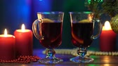 mulled : Mulled wine in night celebration of New Year party and delicious Christmas drink for autumn and winter season Stock Footage