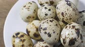 group of objects : Not boiled quail eggs. Dietary food Stock Footage