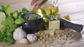 hearty : Genoise pesto sauce and ingredients on the wooden table