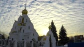 timelapse clouds in the sky over the temple of winter Стоковые видеозаписи