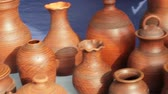 crock : pottery at crafts fair in Siberia Stock Footage