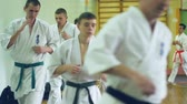 борьба : Russia, Novosibirsk, August 15, 2018 A group of people practicing karate strokes indoors. Endurance training in karate