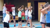 Russia, Anapa, 2018: Children do morning exercises under the guidance of an outdoor trainer Wideo