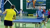 Russia, Anapa, 2018: Summer gathering of young athletes in table tennis. Competitions in between the children. Preparation for competitions in table tennis Стоковые видеозаписи