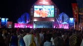 SOCHI, RUSSIA - June 15, 2018: FIFA 2018. broadcast the game on the screen in the seaport. fans are watching the live broadcast of the game. Vídeos