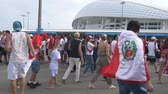 SOCHI, ADLER, RUSSIA - June 26, 2018: FIFA 2018. Football fans of the national team of Peru and Australia are going to the match at the stadium Fisht in the Olympic village. EDITORIAL
