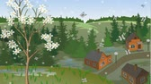 Animation of changing of seasons on the same landscape of town from hill. Autumn, winter, spring, summer Stock Footage
