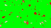 Animation of the falling rotating red sparkles in shape of hearts. Green screen background Stock Footage