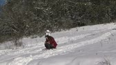 tobogganing : Girl sledding down the tobogganing hill Stock Footage