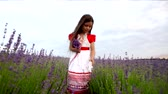 perfume : Happy cute little girl is wearing  white dress with red trim in a lavender field picks purple flowers
