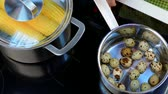 codorna : Put the quail eggs on the stove Stock Footage