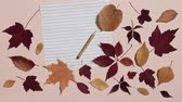 caderno : Empty sheet of paper with pencil and colorful autumn leaves on pink background. Wind blows away the leaves. Concept of back to school Stock Footage
