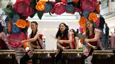 марш : Moscow, Russia - March 4, 2017: group of Japanese Taiko drummers girls perform in Oceania shopping center on the at the opening of a new store UNIQLO Unique Clothing Warehouse.