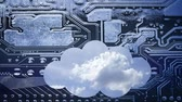 cópia impressa : Cloud computing conceptual video. Deep blue sky with clouds time laps in a cloud on a circuit board background. The silhouette of the cloud is placed below to leave free space above it for your text. Vídeos