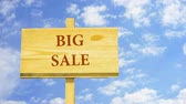 word cloud business : Big sale. Words on a wooden sign. Stock Footage