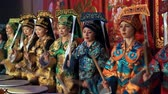 knocking : Moscow, Russia - February 03, 2018: drummers girls from Taiko In-Spirational asian drum show in traditional asian costumes perform during the Asian new year concert.