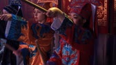 drummer : Moscow, Russia - February 03, 2018: drummers girls from Taiko In-Spirational asian drum show in traditional asian varrior costumes perform during the Asian new year concert. Stock Footage