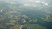 The view from the airplane window to the settlements over the Moscow region.
