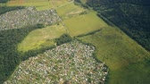 tableland : The view from the airplane window to the settlements and road over the Moscow region. Stock Footage