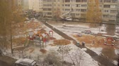avlu : TVER, RUSSIA - OCTOBER 25, 2017: The yard of a house during a snowfall