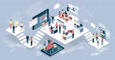 Isometric virtual office with people working together, customers and mobile devices: business, technology and online communication concept Stok Video