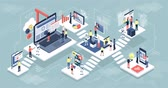 izometrický : Isometric virtual office with people and robots working together, mobile devices and laptops: technology, automation and innovation concept