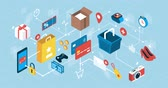 Online shopping, e-payments and express delivery; network of isometric vector concepts Stok Video