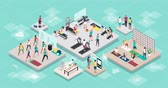 sportovní výstroj : Young happy people practicing sports together at the gym and different workouts: fitness, health and training concept, animated isometric interiors